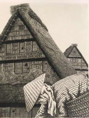 TANAKA RYOHEI - 1974 Roofs Of Hida 1/10 AP Signed & Numbered Etching ! Large !