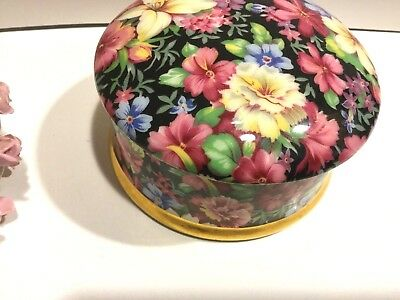 """Royal Winton Florence Chintz Trinket Bx 4 1/2"""" in diameter and 2 1/4"""" hi England"""