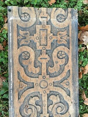 1 x Antique Oak Hand Carved Wooden Decorative Panel