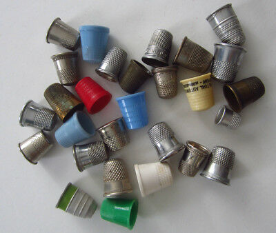 Huge Lot of 28 Vintage Thimbles Metal, Brass, Plastic, Childs+