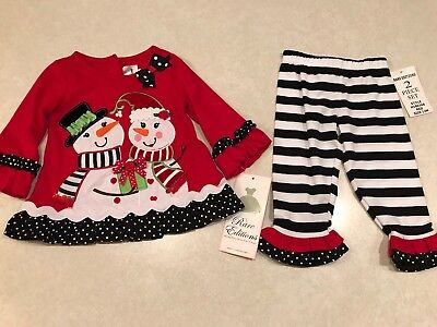 bde3fdf99a43 NWT Rare Editions Baby Girl's Christmas Holiday Snowman 2 Piece Outfit 12  Months