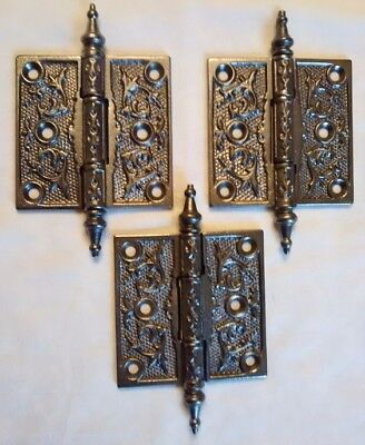Antique Cast Iron Victorian Style Hinges with Steeple Style Pins