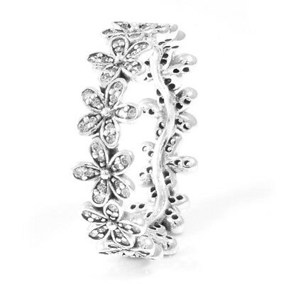 DAISY 925 Solid Sterling Silver Sparkling Clear Pave Flower Ring Size 6 / 52