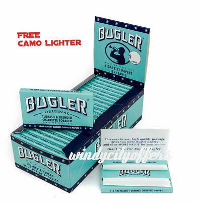 Bugler Cigarette Rolling Papers 24 Packs Booklets Box- FREE Camo LED Lighter