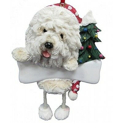 Old English Sheepdog Dangling Wobbly Leg Dog Bone Christmas Ornament