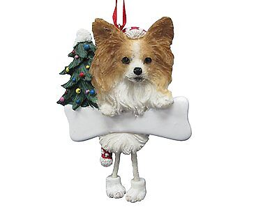Papillon Dangling Wobbly Leg Dog Bone Christmas Ornament