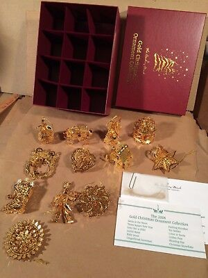 Danbury Mint 2004 23K Gold Christmas Ornaments Collection Complete Box Set of 12