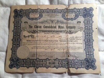 Clinton Consolidated Mining Company Chaffee Cty Colorado 1911 Stock Certificate