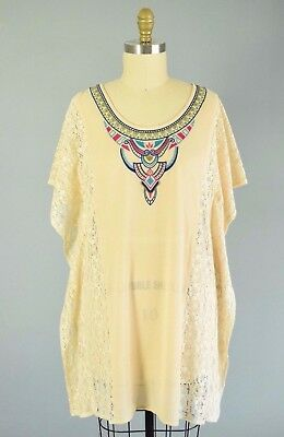 PINK BLUSH NWT Maternity Aztec Lace Embroidered Dress Size Large