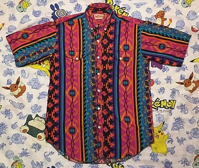 Vintage Saddlebrook Western Shirt Blue Red Tribal Pattern Large Fresh Prince 90s