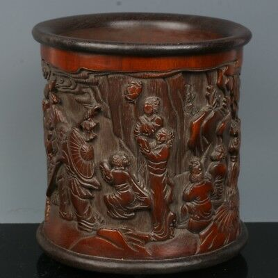 Chinese Exquisite Hand-carved mythology figure carving bamboo Brush Pots