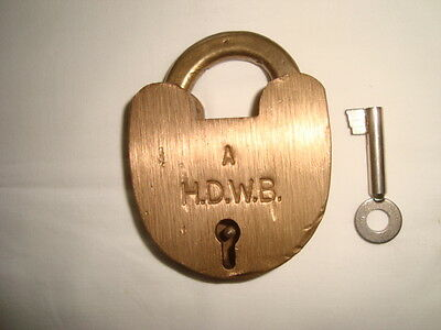 "Collectable Old Vintage Brass ""Jacksons "" H.D.W.B. ""A"" Padlock (Lock)"