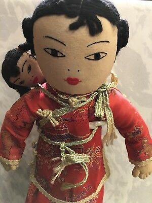 Vintage Chinese Doll With Baby Girl In Red Traditional Dress by Ada Lum