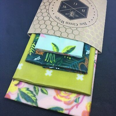 🐝Jungle 4 Pack [20+26+31+35cm] Beeswax Food Wrap & Covers FREE SHIPPING