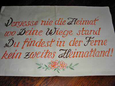 VINTAGE Embroidered Pillow Case Duvet Cover Floral GERMAN WRITING  TRANSLATED!