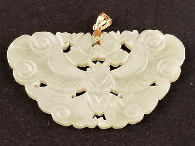 Antique Chinese Carved Green Jade Butterfly Pendant 14k Gold , Remnants Red Seal