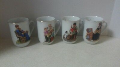 Vintage 1982 NORMAN ROCKWELL Coffee Cups Mugs Set Of 4 Museum Collection