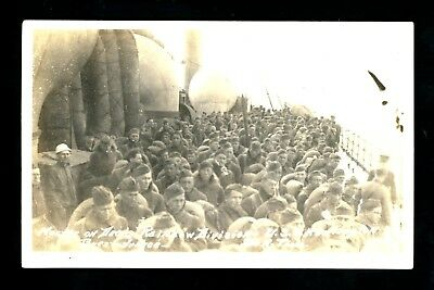 Military real photo postcard RPPC Soldiers on Rainbow Divisions USS Huntington