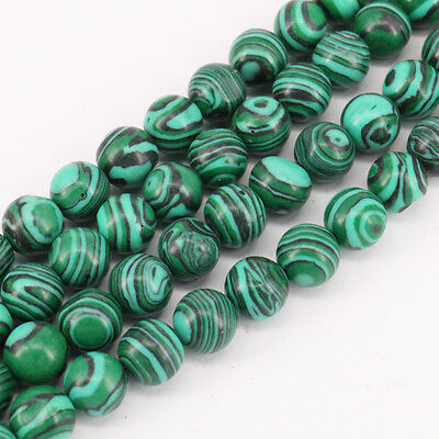 16'' Natural Green Malachite Stone Round Loose Spacer Beads Making Craft 4-10MM