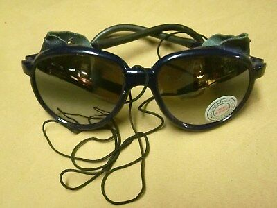 VINTAGE ALPINE GLACIER CLIMBING MOUNTAINEERING blue With Leather Sunglasses