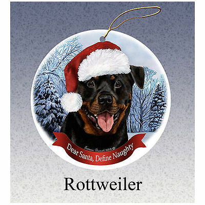 Rottweiler Howliday Porcelain China Dog Christmas Ornament