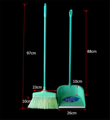BROOM DUSTPAN Set 98cm Long Upright Handle Broom Sweeper Wide