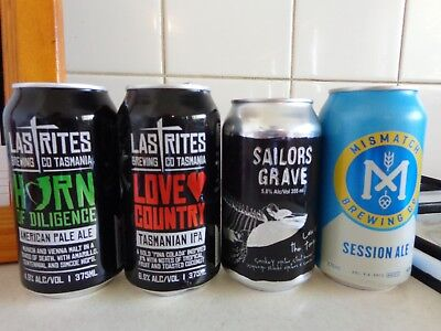 """Mismatch's Sess.ale,sailors' Law Of Tongue & Lastrites """"love"""" & """"horn"""" Beer Cans"""