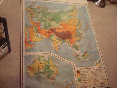 Old Antique Vintage school classroom pull down map Asia and Australia nystrom