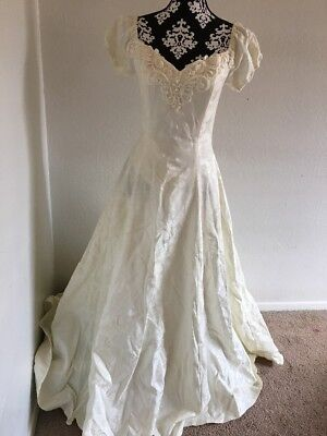 Jessica Mcclintock Bridal  Size 6 Ivory Beaded  Wedding Dress 80s Vintage Gown