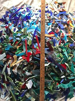 12 lbs mixed stained glass scrap. great for mosaics or small projects. #11 box