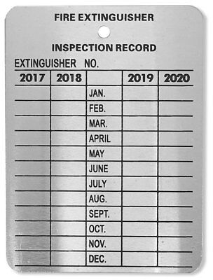 Metal Fire Extinguisher 4-Year Inspection Tags 2017-2018-2019-2020