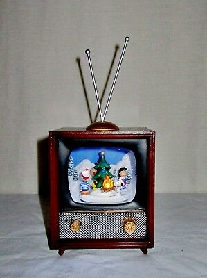 Nib Amusements Musical Retro Tv Rotating Peanuts Snoopy Plays 8 Christmas Songs!