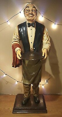 Waiter Old Man Butler statue life size with removable tray