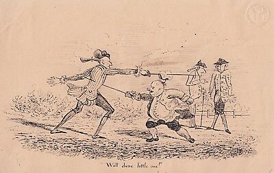 Early 19th Century Cartoon of Army Officers Duelling - Possible Regency Period