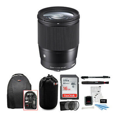 Sigma 16mm f/1.4 DC DN Contemporary Lens for Sony E W/ 16GB SD Card & Travel Kit