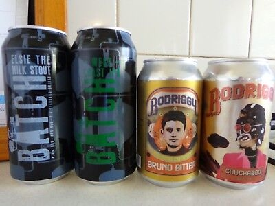 """Batch's """"stout"""" & """"ipa"""" + Bodriggy's """"bruno Bitter"""" & """" Chuchaboo Ipa"""" Beer Cans"""