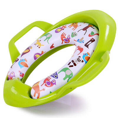 QCBABY Kids Potty Training Toilet Seat Ring Cover Increase Thickening Green