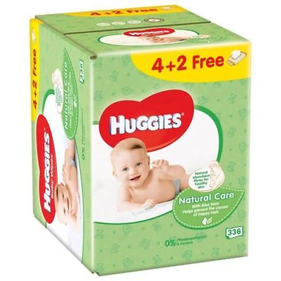 HUGGIES Lingettes Natural Care 4+2 Gratuites (6x56)