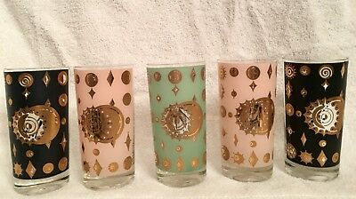 Vintage Fred Press Glasses Set of 5 Celestial Eclipse Highball Starburst Atomic
