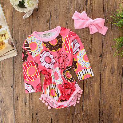 Cute Newborn Baby Girl Floral Tassels Long Sleeve Romper Jumpsuit Outfit Clothes