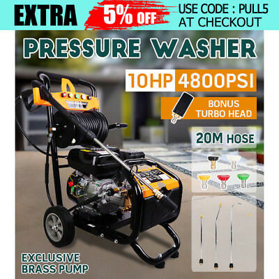 New 10HP 4800PSI High Pressure Washer Cleaner Petrol Water Gurney 30M Hose AUS