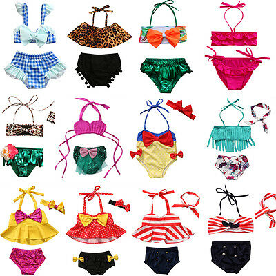 Kids Baby Girl Bikini Suit Swimwear Swimsuit Tassel Bathing Beachwear Swimming