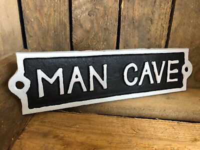 "Antique Black Cast Iron Wall Garden Garage Gate Door Sign Plaque ""Man Cave"""