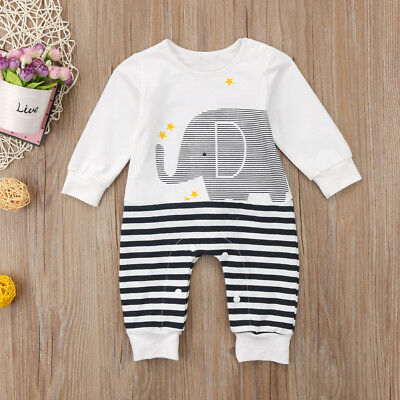 Infant Kids Baby Girls Boy Elephant Long Sleeve Romper Jumpsuit Outfits Clothing