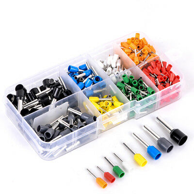 400Pcs Assorted Insulated Wire Copper Terminal Crimp Cord Pin End Connector Kit