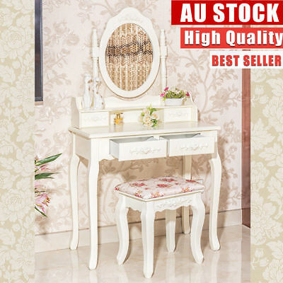 Luxury Dressing Table Jewelry Makeup Desk 4 Drawers Round Mirror w/ Wooden Stool