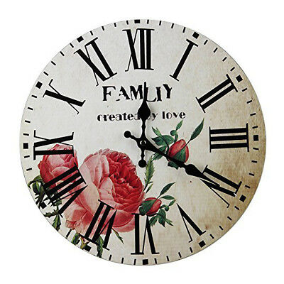 Shabby Chic flowers Style 34cm Wall Clock Home Bedroom Retro Kitchen Quartz N8W1