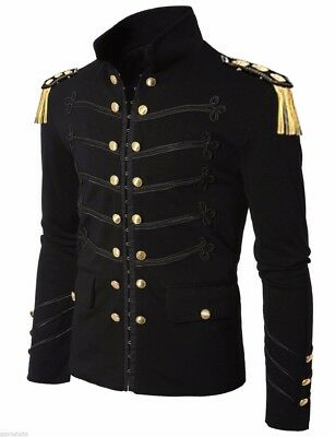 Men Handmade Black Embroidery Black Military Napoleon Hook Jacket 100% Cotton