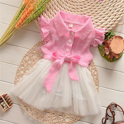 Toddler Infant Baby Girls Princess Pink Tops Bowknot Lace Tulle Tutu Dress