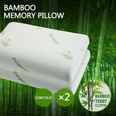 2X Luxury Bamboo Pillow Anti Bacterial Memory Foam Fabric Cover 50 X 30CM AU